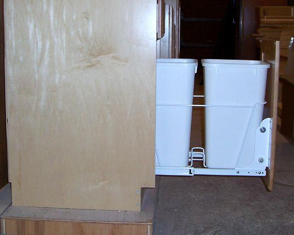 2-27qt trash bins with door mount feature.